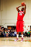 21 January 2010: Stony Brook University Seawolves' guard Muhammad El-Amin, a Senior from Lansing, MI, shoots for three against the University of Vermont Catamounts at Patrick Gymnasium in Burlington, Vermont. The Catamounts fell to the Seawolves 65-60 in the America East matchup. Mandatory Credit: Ed Wolfstein Photo