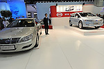 Build Your Dreams, BYD, Chinese Auto's F6DM and E6 are seen on the showroom floor at the Detroit Auto Show in Detroit, Michigan on January 12, 2009.