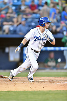 Asheville Tourists third baseman Bret Boswell (3) runs to first base during a game against the Greensboro Grasshoppers at McCormick Field on May 10, 2018 in Asheville, North Carolina. The Tourists defeated the Grasshoppers 14-10. (Tony Farlow/Four Seam Images)