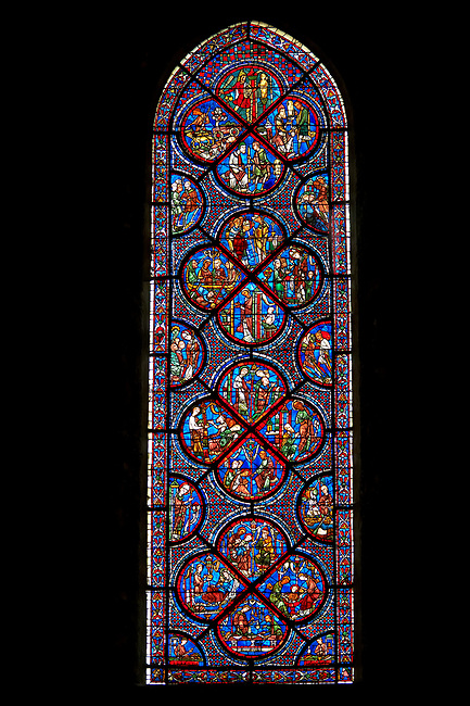Medieval Windows  of the Gothic Cathedral of Chartres, France, dedicated to the life an miracles of St Nicholas. A UNESCO World Heritage Site.