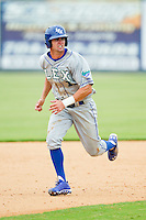 Bubba Starling (11) of the Lexington Legends takes his lead off of second base against the Kannapolis Intimidators at CMC-Northeast Stadium on July 31, 2013 in Kannapolis, North Carolina.  The Intimidators defeated the Legends 3-2.  (Brian Westerholt/Four Seam Images)