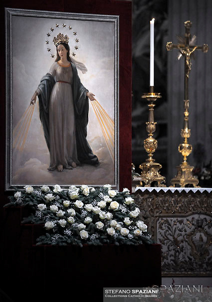 Quadro della Madonna del Miracolo  Chiesa di S. Andrea delle Fratte, Roma.Pope Francis Vespers and Te Deum prayers in Saint Peter's Basilica at the Vatican. on December 31, 2016