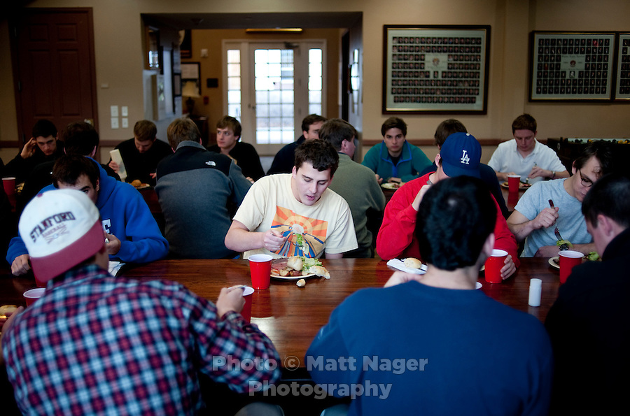 Members of the Sigma Alpha Epsilon fraternity house eat their dinner on the Southern Methodist University campus in Dallas, Texas, Friday, january 20, 2011. Some high-end chefs have found professional salvation from an unlikely location: Fraternity Row. ..Matt Nager for The Wall Street Journal