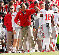 Ohio State head football coach Urban Meyer directs his players from the sideline during Saturday's NCAA Division I football game against Purdue at Ross-Ade Stadium in West Lafayette, In. on November 2, 2013. (Barbara J. Perenic/The Columbus Dispatch)