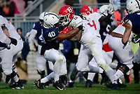 STATE COLLEGE, PA - NOVEMBER 11:  Penn State LB Jason Cabinda (40) tackles Rutgers RB Gus Edwards (13). The Penn State Nittany Lions defeated the Rutgers Scarlet Knights 35-6 on November 11, 2017 at Beaver Stadium in State College, PA. (Photo by Randy Litzinger/Icon Sportswire)