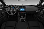 Stock photo of straight dashboard view of a 2019 Jaguar XE R-Sport 4 Door Sedan