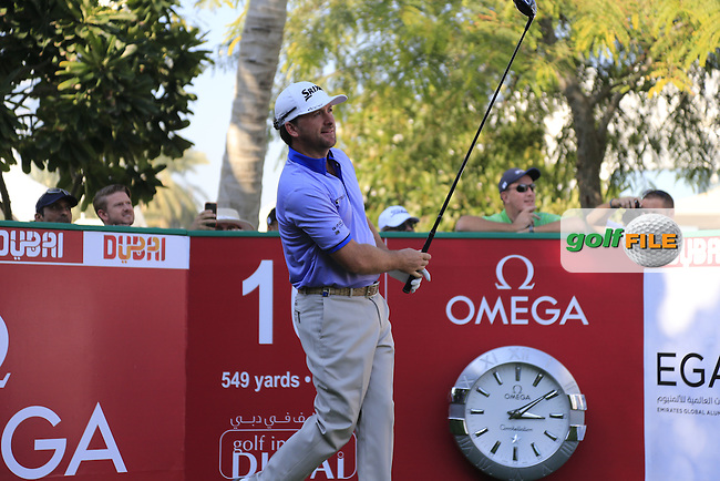 Graeme McDOWELL (NIR) tees off the 10th tee to start Tuesday's Challenge Match 2 man scramble of the 2015 Omega Dubai Desert Classic held at the Emirates Golf Club, Dubai, UAE.: Picture Eoin Clarke, www.golffile.ie: 1/27/2015