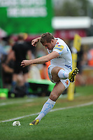 Gareth Steenson of Exeter Chiefs takes a conversion attempt during the Aviva Premiership match between Harlequins and Exeter Chiefs at The Twickenham Stoop on Saturday 7th May 2016 (Photo: Rob Munro/Stewart Communications)
