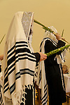 Israel, Bnei Brak. Succot holiday at the Premishlan congregation. A prayer with the Four Species<br />
