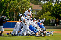 June 12, 2011:   Florida Gator team mates pile on each other in celebration after defeating Mississippi State 8-6 to advance to the College World Series.  ......
