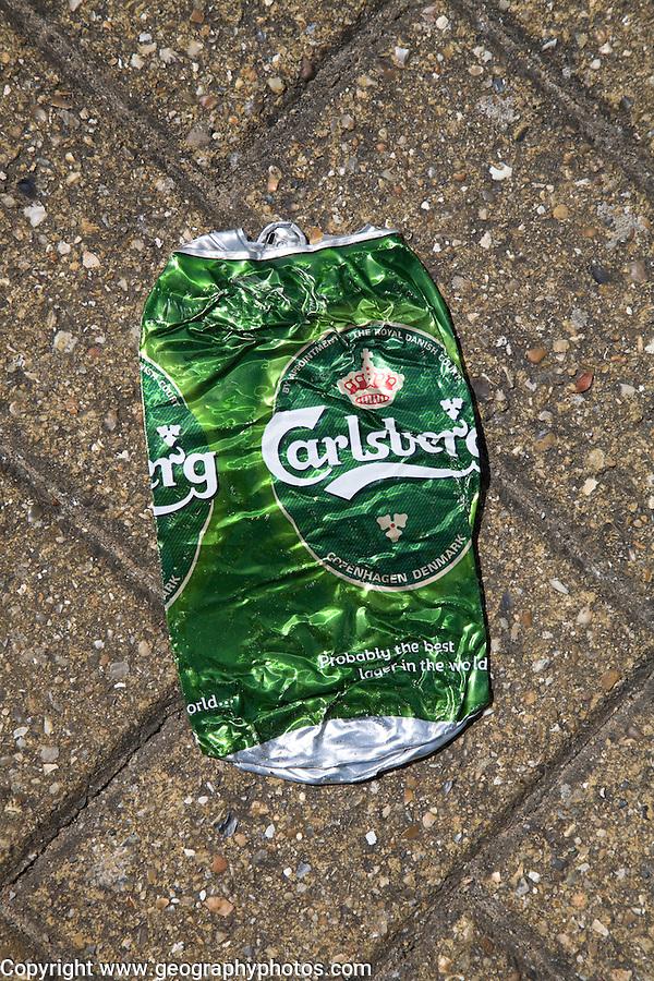 Crushed Carlsberg beer can