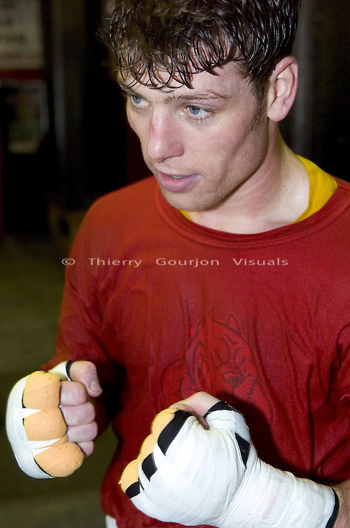 John Duddy in between rounds during  a training session at Gleason's Gym in Brooklyn, New York on 05.19.05