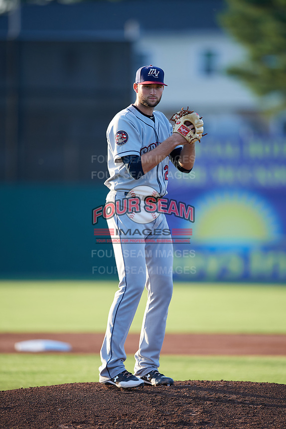 Mahoning Valley Scrappers starting pitcher Sam Hentges (26) gets ready to deliver a pitch during a game against the Batavia Muckdogs on August 16, 2017 at Dwyer Stadium in Batavia, New York.  Batavia defeated Mahoning Valley 10-6.  (Mike Janes/Four Seam Images)