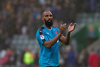 Nathan Pond of Fleetwood Town claps the fans at full time of the Sky Bet League 1 match between Plymouth Argyle and Fleetwood Town at Home Park, Plymouth, England on 7 October 2017. Photo by Mark  Hawkins / PRiME Media Images.