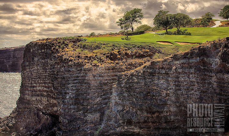 The Challenge at Manele, the Four Seasons Resort Lana'i golf course along Manele Bay, Lana'i.