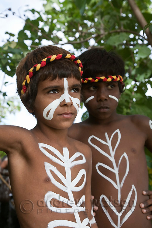 Indigenous children during re-enactment of Captain Cook's landing - part of the annual Cooktown Discovery Festival.  Cooktown, Queensland, Australia