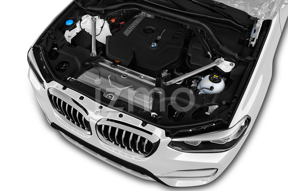 Car stock 2018 BMW x3 x Line 5 Door SUV engine high angle detail view