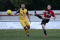 Jake Gould of Brightlingsea and Lewwis Spence of Hornchurch during Brightlingsea Regent vs AFC Hornchurch, Buildbase FA Trophy Football at North Road on 10th November 2018