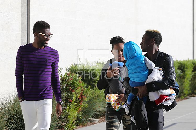 San Jose, CA - Wednesday May 17, 2017: Shaun Francis, Cordell Cato prior to a Major League Soccer (MLS) match between the San Jose Earthquakes and Orlando City SC at Avaya Stadium.