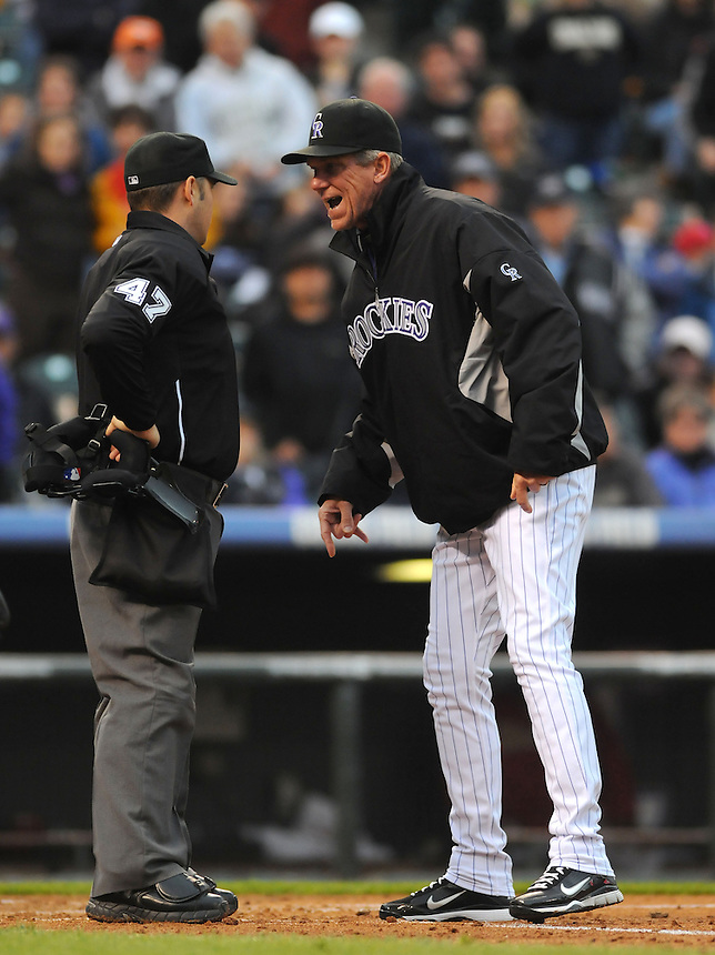 24 MAY 2011: Colorado Rockies manager Jim Tracy (4) argues with umpire Mark Wegner (47) and is ejected during a regular season game between the Arizona Diamondbacks and the Colorado Rockies at Coors Field in Denver, Colorado. The Diamondbacks beat the Rockies 5-2 in second game of a split doubleheader.   *****For Editorial Use Only*****