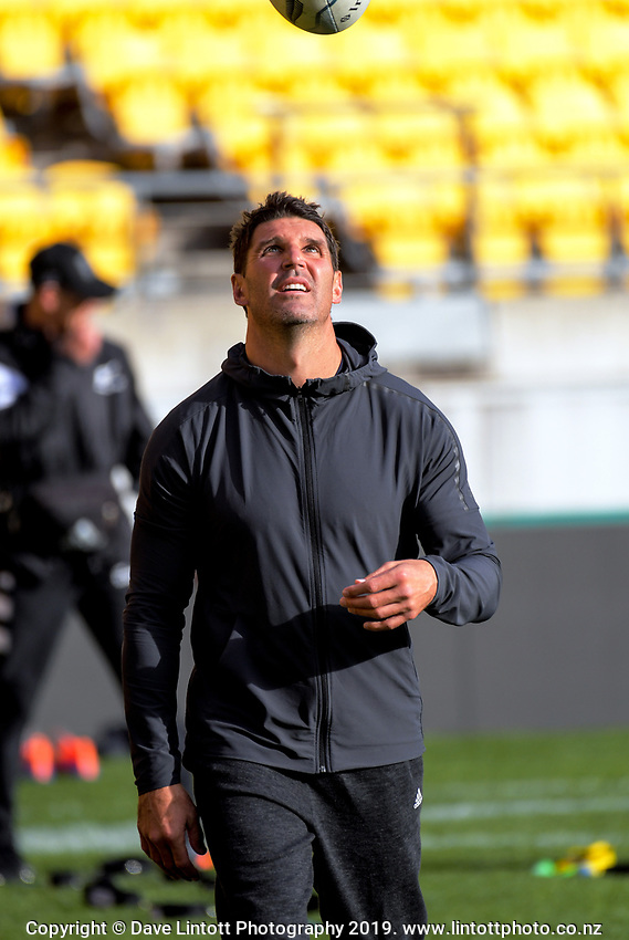 Former Manly NRL coach Trent Barrett during the 2019 Investec Rugby Championship Series New Zealand All Blacks training session at Westpac Stadium in Wellington, New Zealand on Thursday, 25 July 2019. Photo: Dave Lintott / lintottphoto.co.nz
