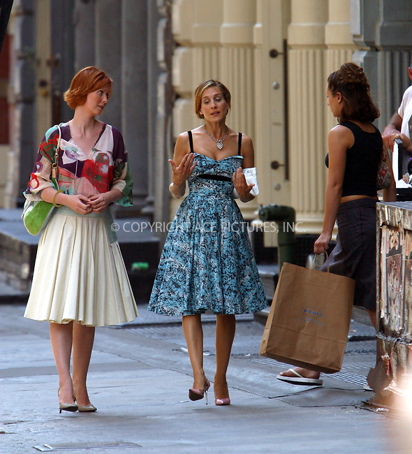 """Sarah Jessica Parker and Cynthia Nixon on the set of """"Sex and the City"""" in New York. July 29, 2003. Please byline: NY Photo Press.   ..*PAY-PER-USE*      ....NY Photo Press:  ..phone (646) 267-6913;   ..e-mail: info@nyphotopress.com"""