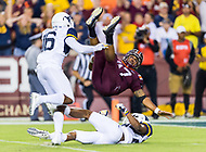 Landover, MD - SEPT 3, 2017: Virginia Tech Hokies quarterback Josh Jackson (17) breaks a run for a huge gain late in the forth quarter to set up the game deciding touchdown during game between West Virginia and Virginia Tech at FedEx Field in Landover, MD. (Photo by Phil Peters/Media Images International)
