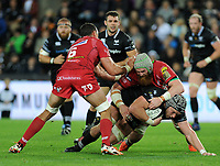 Ospreys' Dan Lydiate is tackled by Scarlets' Jake Ball<br /> <br /> Photographer Ashley Crowden/CameraSport<br /> <br /> Guinness Pro14 Round 6 - Ospreys v Scarlets - Saturday 7th October 2017 - Liberty Stadium - Swansea<br /> <br /> World Copyright &copy; 2017 CameraSport. All rights reserved. 43 Linden Ave. Countesthorpe. Leicester. England. LE8 5PG - Tel: +44 (0) 116 277 4147 - admin@camerasport.com - www.camerasport.com