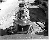 View along top of D&amp;RGW #346 C-19 showing smoke stack with sand dome and steam dome behind.<br /> D&amp;RGW  CRRM, CO  Taken by Payne, Andy M. - 3/4/1974
