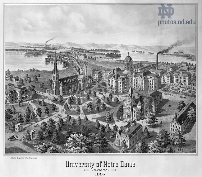 GUND:  Engraving of campus by Shober and Carqueville Lithograph Company Chicago, 1885..Image from the University of Notre Dame Archives.
