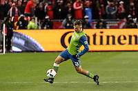 Toronto, ON, Canada - Saturday Dec. 10, 2016: Jordan Morris during the MLS Cup finals at BMO Field. The Seattle Sounders FC defeated Toronto FC on penalty kicks after playing a scoreless game.