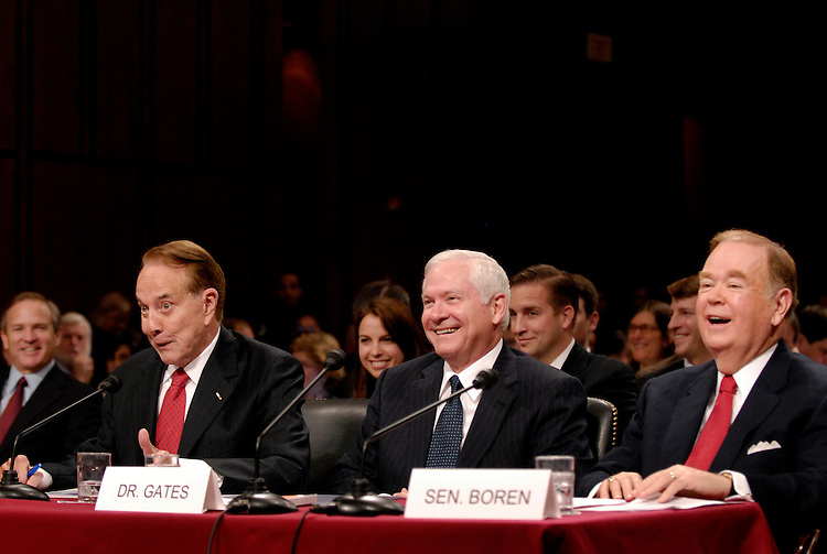 Former Senator Robert Dole, R-Kan., left, and former Senator David Boren, D-Okla., right, introduced Dr. Robert Gates, center, to the Senate Armed Services Committee for his conformation hearing to the position of Secretary of Defense.