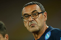 Napoli's coach  Maurizio Sarri during the  italian serie a soccer match against    Juventus,    at  the San  Paolo   stadium in Naples  Italy , September 26 , 2015