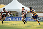 Ben Meyer looks to link up with Simon Lemalu during the Air NZ Cup rugby game between Bay of Plenty & Counties Manukau played at Blue Chip Stadium, Mt Maunganui on 16th of September, 2006. Bay of Plenty won 38 - 11.