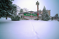 Kwakwaka'wakw (formerly Kwakiutl) Style Longhouse and Totem Pole in Thunderbird Park, Victoria, Vancouver Island, British Columbia, Canada, in Winter