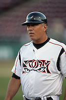Carlos Lezcano, manager of the Lake Elsinore Storm, during game against the Bakersfield Blaze at The Diamond in Lake Elsinore,California on July 25, 2010. Photo by Larry Goren/Four Seam Images