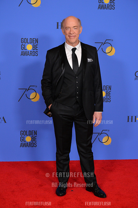 J.K. Simmons at the 75th Annual Golden Globe Awards at the Beverly Hilton Hotel, Beverly Hills, USA 07 Jan. 2018<br /> Picture: Paul Smith/Featureflash/SilverHub 0208 004 5359 sales@silverhubmedia.com