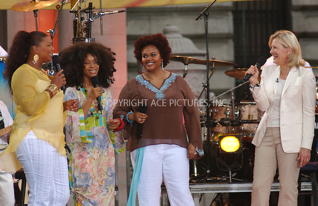 WWW.ACEPIXS.COM . . . . . ....NEW YORK, JULY 15, 2005....Queen Latifah, Erykah Badu, Jill Scott, and Diane Sawyer on the A.B.C. Good Morning American Show in Bryant Park.....Please byline: KRISTIN CALLAHAN - ACE PICTURES.. . . . . . ..Ace Pictures, Inc:  ..Craig Ashby (212) 243-8787..e-mail: picturedesk@acepixs.com..web: http://www.acepixs.com