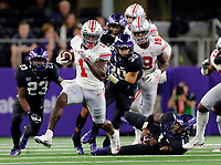 Ohio State Buckeyes wide receiver Johnnie Dixon (1) returns a kickoff and get past TCU Horned Frogs linebacker Jawuan Johnson (1) during the 2nd quarter of their game at AT&T Stadium at Arlington, Texas on September 15, 2018.  [Kyle Robertson/Dispatch]