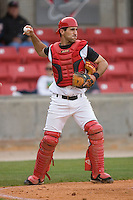 Catcher Chris Denove #7 of the Carolina Mudcats on defense versus the Jacksonville Suns at Five County Stadium May 18, 2009 in Zebulon, North Carolina. (Photo by Brian Westerholt / Four Seam Images)