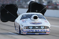 Apr. 26, 2013; Baytown, TX, USA: NHRA pro stock driver Larry Morgan during qualifying for the Spring Nationals at Royal Purple Raceway. Mandatory Credit: Mark J. Rebilas-
