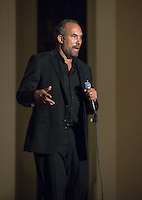 "Roger Guenveur Smith '77 performs ""Performing History"", inspired by his undergraduate work at Oxy, on Oct. 21, 2015 in Upper Herrick Memorial Chapel. Herrick is where he presented his first solo performance, a senior honors project in American studies.<br /> (Photo by Marc Campos, Occidental College Photographer)"