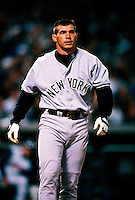 Joe Girardi of the New York Yankees plays in a baseball game at Edison International Field during the 1998 season in Anaheim, California. (Larry Goren/Four Seam Images)