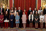 King Felipe VI of Spain, Queen Letizia of Spain, Princess Leonor of Spain (l) and Princess Sofia of Spain (r) attend the Order of Golden Fleece (Toison de Oro), ceremony at the Royal Palace. January 30,2018. (ALTERPHOTOS/Pool)