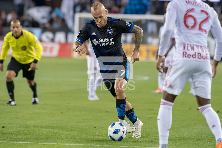 San Jose, CA - Thursday January 21, 2016: Magnus Eriksson during a Major League Soccer (MLS) match between the San Jose Earthquakes and the New York Red Bulls at Avaya Stadium.