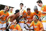 London, UK on Sunday 31st August, 2014. The Janoskians football team celebrate victory during the Soccer Six charity celebrity football tournament at Mile End Stadium, London.