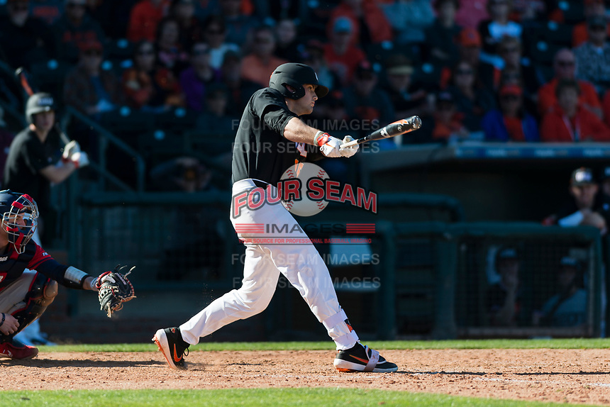 Oregon State Beavers pinch hitter Greg Fuchs (36) swings at a pitch during a game against the Gonzaga Bulldogs on February 16, 2019 at Surprise Stadium in Surprise, Arizona. Oregon State defeated Gonzaga 9-3. (Zachary Lucy/Four Seam Images)