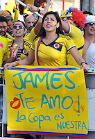 RIO DE JANEIRO - BRASIL -01-07-2014. Rostros de los  Hinchas de Colombia en  Rio de Janeiro por la Copa Mundial de la FIFA Brasil 2014 , rumbo a Fortaleza para el encuentro con la seleccion de Brazil ./ Faces of the Fans of Colombia  in Rio de Janeiro for the World Cup Brazil 2014, heading to Fortaleza for the meeting with the selection of Brazil. Photo: VizzorImage / Alfredo Gutierrez / Contribuidor