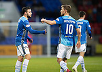 St Johnstone v Hamilton Accies&hellip;10.11.18&hellip;   McDiarmid Park    SPFL<br />Drey Wright celebrates his deflected goal with David Wotherspoon<br />Picture by Graeme Hart. <br />Copyright Perthshire Picture Agency<br />Tel: 01738 623350  Mobile: 07990 594431