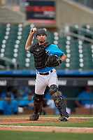 Miami Marlins catcher Cameron Barstad (6) throws to first base during an Instructional League game against the Washington Nationals on September 25, 2019 at Roger Dean Chevrolet Stadium in Jupiter, Florida.  (Mike Janes/Four Seam Images)